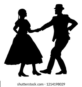 Hungarian folk dancers couple vector silhouette. Germany folk dancers couple in love. Austrian folk dancers couple. East Europe folklore. Balkan folk dancing. Traditional wedding folklore event.