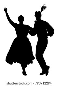 Hungarian folk dancers couple vector silhouette. Germany folk dancers couple in love. Austrian folk dancers couple. East Europe folklore. Couple in love dancing Balkan folk. Traditional folklore event