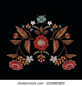 Hungarian folk embroidery Vector embroidery for fashion
