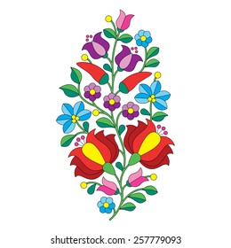 Hungarian folk pattern - Kalocsai embroidery with flowers and paprika