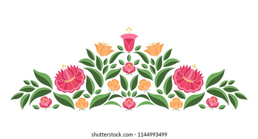 Hungarian folk pattern vector border. Kalocsa embroidery floral ethnic ornament. Slavic eastern european print isolated. Vintage traditional flower design for wedding invitation, woman cloth.