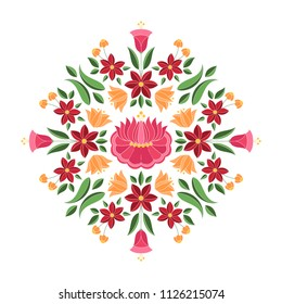 Hungarian folk pattern vector. Kalocsa floral ethnic ornament. Slavic eastern european print. Traditional embroidery flower design for gypsy pillow case, boho woman clothing, rustic wedding cards.