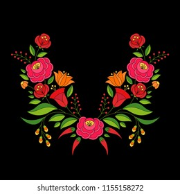 Hungarian folk pattern vector. Kalocsa floral ethnic ornament. Slavic eastern european print on black background. Traditional flower design for woman clothing embroidery, home textile, holiday cards.