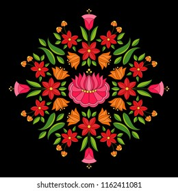 Hungarian folk pattern vector. Kalocsa floral ethnic ornament. Slavic eastern european print isolated on black background. Traditional vintage flower design for pillow case or clothing embroidery.