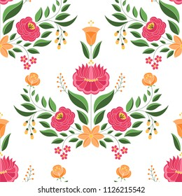 Hungarian folk pattern vector seamless. Kalocsa floral ethnic ornament. Slavic eastern european print. Traditional embroidery flower design for birthday wrapping paper, bedroom textile, wedding gifts.