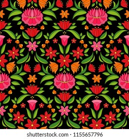 Hungarian folk pattern vector seamless. Kalocsa floral ethnic ornament. Slavic eastern european print on black background. Vintage flower design for gift wrapping paper or women dress fabric textile.