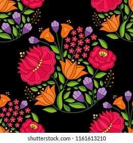 Hungarian folk pattern vector seamless. Kalocsa floral ethnic ornament. Slavic eastern european flower print on black background. Vintage design for textile, fabric, paper, backdrop, packaging.