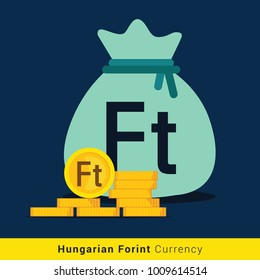Hungarian Forint Money bag icon with sign
