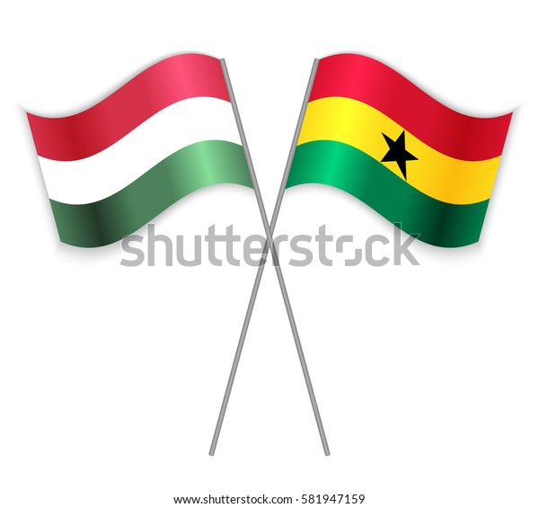 Hungarian and Ghanaian crossed flags. Hungary combined with Ghana isolated on white. Language learning, international business or travel concept.
