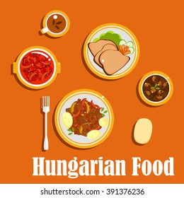 Hungarian national cuisine with beef goulash stew, served with boiled young potatoes, bean soup, pepper and tomatoes salad with vinegar, goose liver with fresh vegetables, bread and tea cup