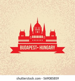 Hungarian Parliament Building also known as  House of the Country, House of the Nation, the Parliament of Budapest. The symbol of Hungary. Vector silhouette. Icon for travel agency. Vintage design
