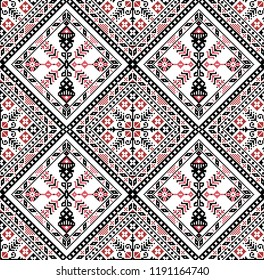 Hungarian pixel pattern for cross-stitch. Vector seamless background.