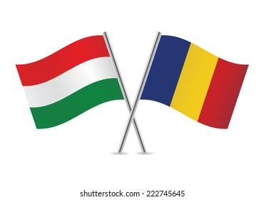 Hungarian and Romanian flags. Vector illustration.