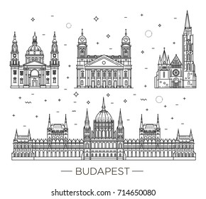 Hungarian travel landmark of historical buildings thin line icon set. Hungarian Parliament Building, Matthias Church, Reformed Great Church
