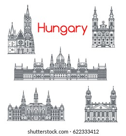 Hungary architecture and Hungarian famous landmark buildings. Vector isolated icons and facades of Budapest Parliament, Matthias and Debrecen Church and Minorite Miskolc, City Hall Gyor