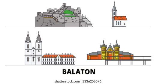 Hungary, Balaton flat landmarks vector illustration. Hungary, Balaton line city with famous travel sights, skyline, design.