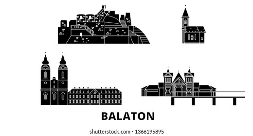 Hungary, Balaton flat travel skyline set. Hungary, Balaton black city vector illustration, symbol, travel sights, landmarks.