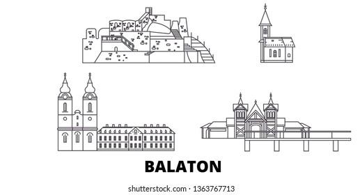 Hungary, Balaton line travel skyline set. Hungary, Balaton outline city vector illustration, symbol, travel sights, landmarks.