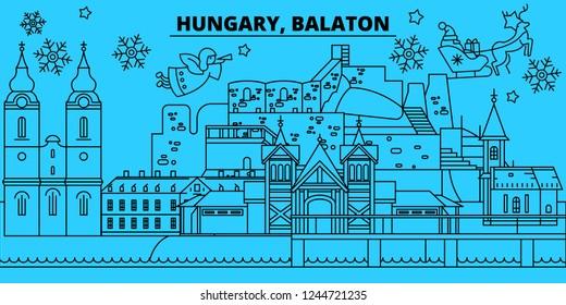 Hungary, Balaton winter holidays skyline. Merry Christmas, Happy New Year decorated banner with Santa Claus.Hungary, Balaton linear christmas city vector flat illustration
