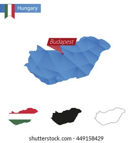Hungary blue Low Poly map with capital Budapest, four versions of map. Vector Illustration.