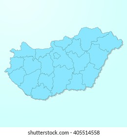 Hungary blue map on degraded background vector