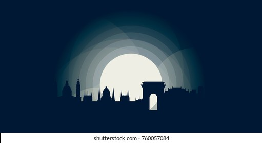 Hungary Budapest capital blue night moon sunset city panorama landscape skyline flat icon logo