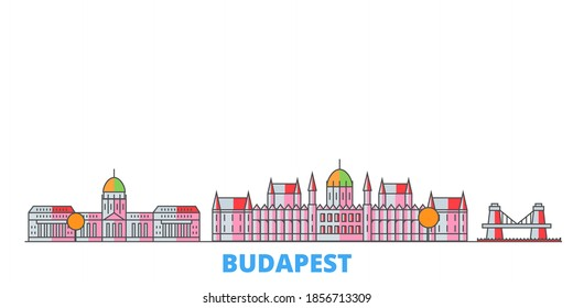 Hungary, Budapest line cityscape, flat vector. Travel city landmark, oultine illustration, line world icons