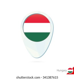 Hungary flag location map pin icon on white background. Vector Illustration.