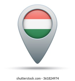 Hungary flag map pointer