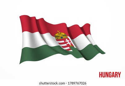 Hungary flag state symbol isolated on background national banner. Greeting card National Independence Day of the Republic of Hungary. Illustration banner with realistic state flag.