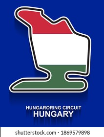 Hungary grand prix race track for Formula 1 or F1 with flag. Detailed racetrack or national circuit for motorsport and formula1 qualification. Vector illustration.