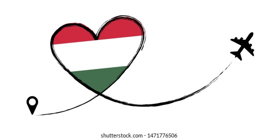 Hungary Hungarian HUN HU Magyarorszag Love Romantic travel Airplane air plane Aircraft Aeroplane flying fly jet airline vector fun funny pin location pointer route trace sign track vacation holliday