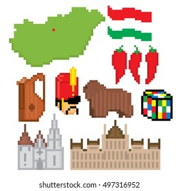 Hungary icons set. Pixel art. Old school computer graphic style. Games elements.