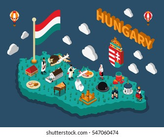 Hungary isometric touristic map with hungarian flag buildings dishes and people in national costumes vector illustration
