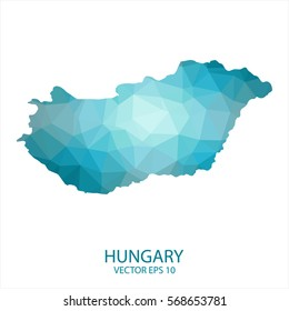 Hungary map - blue geometric rumpled triangular low poly style gradient graphic background , polygonal design for your . Vector illustration eps 10.