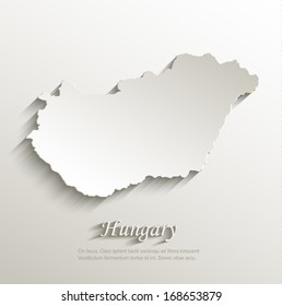 Hungary map card paper 3D natural vector