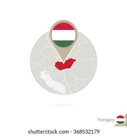 Hungary map and flag in circle. Map of Hungary, Hungary flag pin. Map of Hungary in the style of the globe. Vector Illustration.