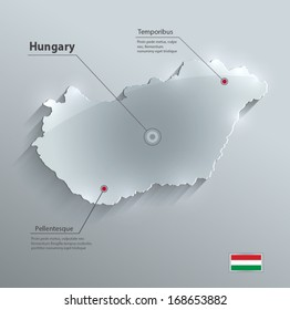 Hungary map flag glass card paper 3D blue vector