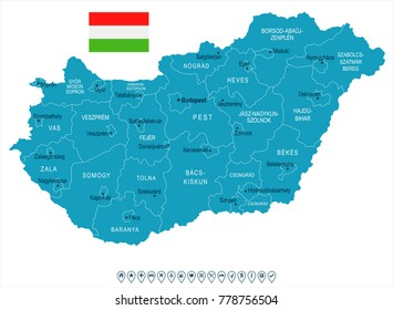 Hungary map and flag - High Detailed Vector Illustration