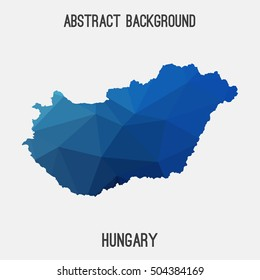 Hungary map in geometric polygonal,mosaic style.Abstract tessellation,modern design background,low poly. Vector illustration.