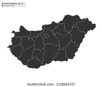 hungary map with regions vector illustration on white background
