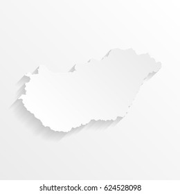 Hungary Map with shadow. Cut paper isolated on a white background. Vector illustration.