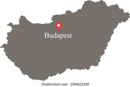 Hungary map vector outline illustration with capital location and name, Budapest, in gray background. Highly detailed accurate map of Hungary prepared by a map expert.