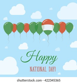Hungary National Day Flat Patriotic Poster. Happy National Day Card with Flags, Balloons, Clouds and Sky.