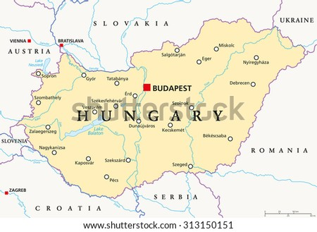 Hungary Political Map.Hungary Political Map Capital Budapest National Stock Vector