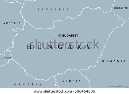 Hungary Political Map Capital Budapest National Stock Vector