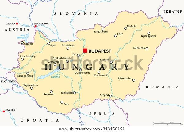 Hungary Political Map Capital Budapest National Stock ...