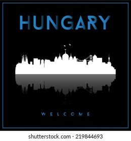 Hungary skyline silhouette vector design on black background.