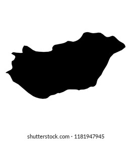 Hungary - solid black silhouette map of country area. Simple flat vector illustration.
