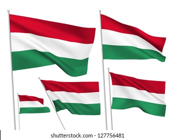 Hungary vector flags set. 5 wavy 3D cloth pennants fluttering on the wind. EPS 8 created using gradient meshes isolated on white background. Five fabric flagstaff design elements from world collection